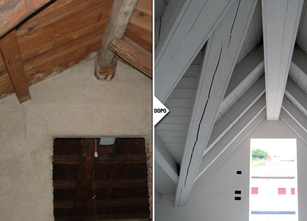 Restauro tetto in legno villa liberty thiene for Tetto in stile ranch